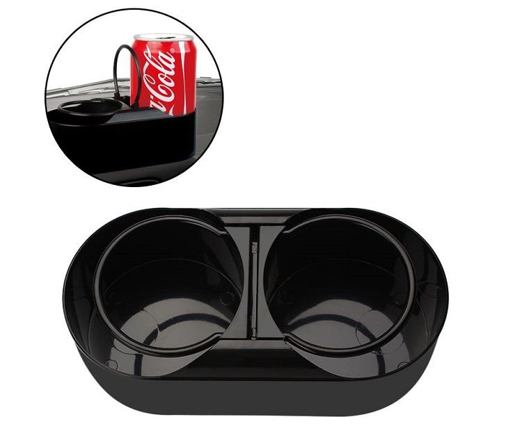 Διπλή ποτηροθήκη με αυτοκόλλητο για το αυτοκίνητο - Μαύρο