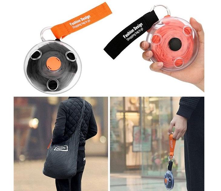 Τσάντα για Ψώνια που Διπλώνει σε Ρολό (Μαύρο Χρώμα) eίδη αποθήκευσης