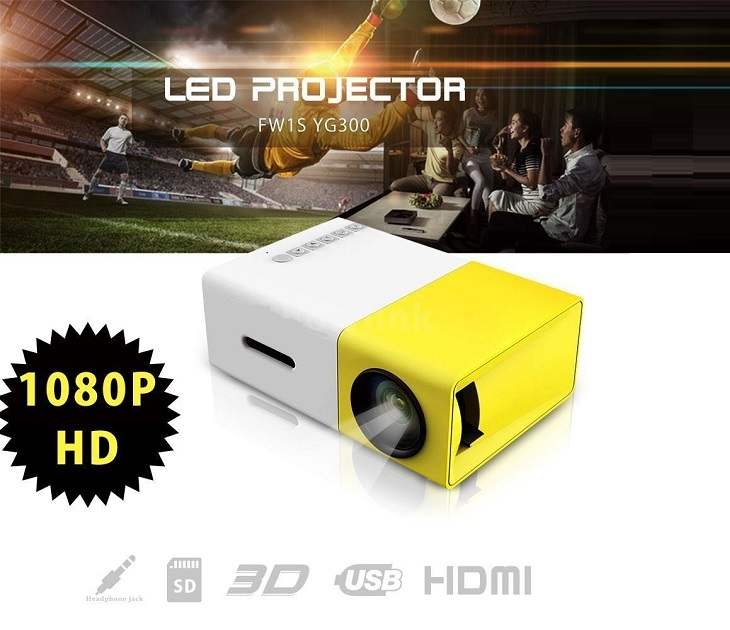 Mini 1080P FULL HD LED Projector με HDMI, USB, AV, SD YG-300 audio   video gadgets