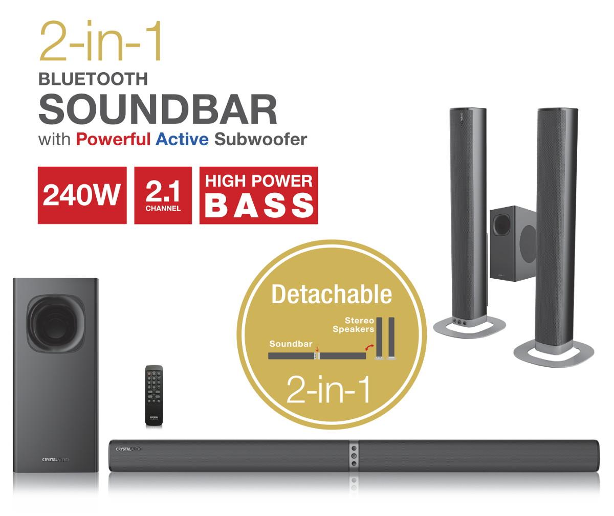 Bluetooth Soundbar 2-σε-1 240W CASB240 Crystal Audio (240W)