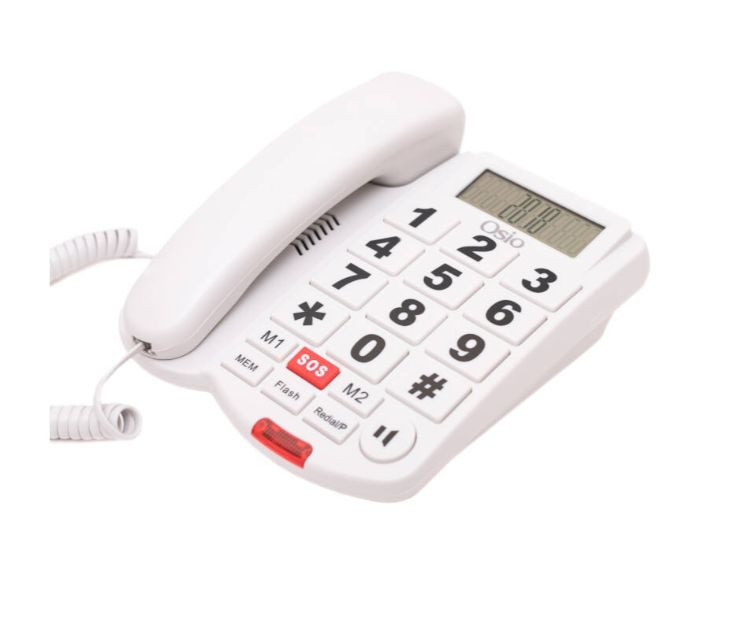 Ενσύρματο Τηλέφωνο με Μεγάλα Πλήκτρα & SOS OSIO OSWB-4760W