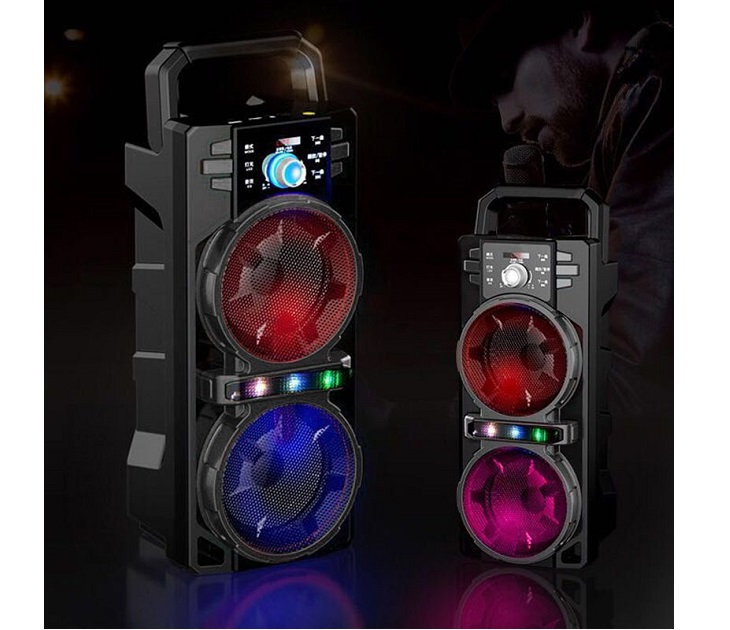 """Φορητό Bluetooth LED Ηχείο 2x4"""" με FM/USB/SD/AUX & Χειριστήριο"""