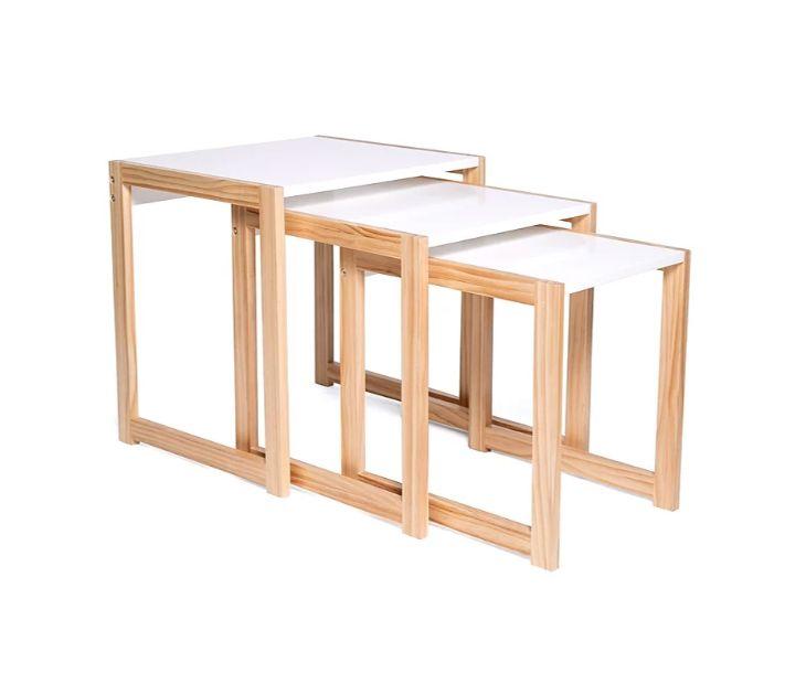 Σετ Βοηθητικά Ξύλινα Τραπέζια 48x40x48.5 cm Livia Χρώματος Λευκό OEM