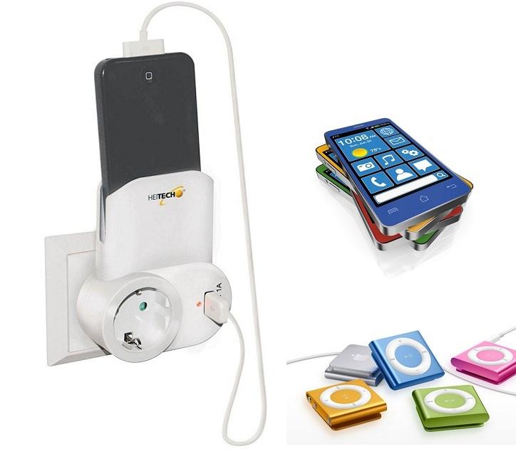 Πρίζα Σούκο Με Θύρα USB Και Θήκη Για Smartphones Heitech