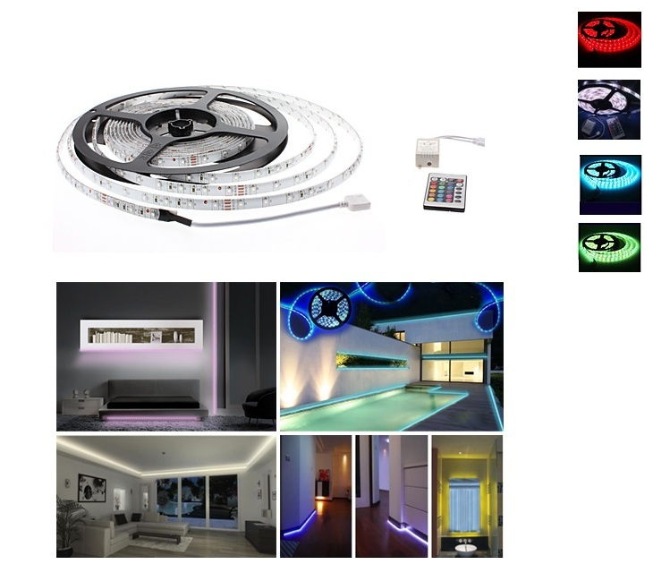Εύκαμπτη Φωτιζόμενη Tαινία LED 5m-Tηλεχειριστήριο (3 χρώματα)OEM ταινίες led