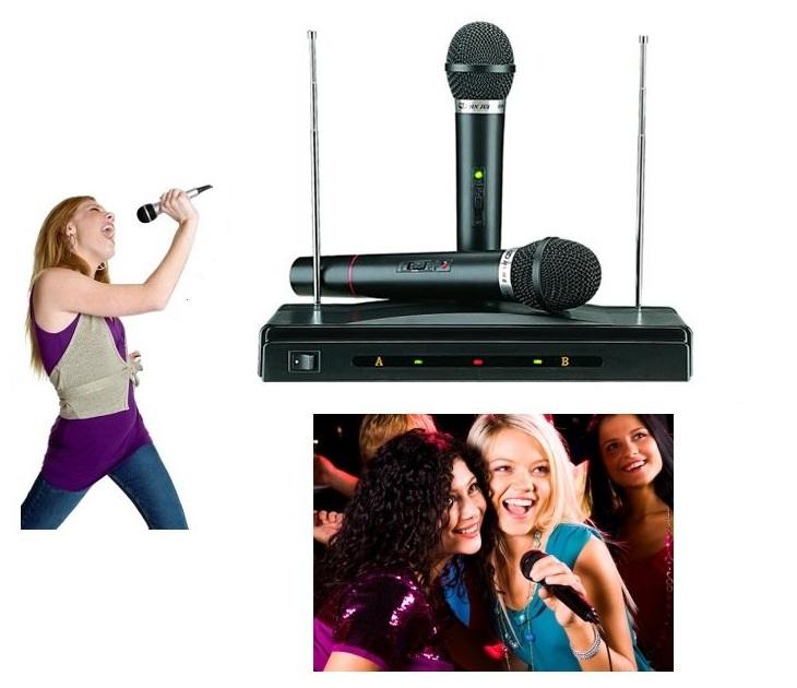 Συσκευή για Karaoke με 2 Aσύρματα Mικρόφωνα Wireless ΟΕΜ AT-306 audio   video gadgets