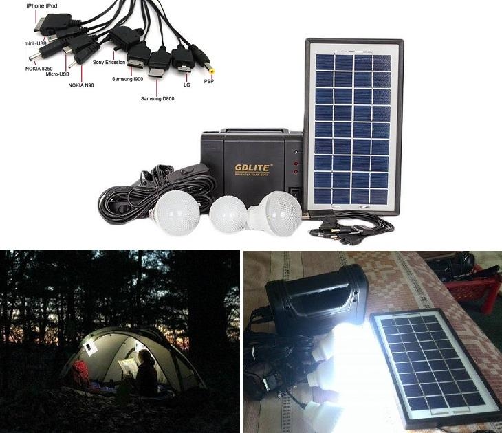 Σύστημα Φωτισμού με Ηλιακό Πάνελ - 3 Λάμπες Led & Power Bank ΟΕΜ gadgets