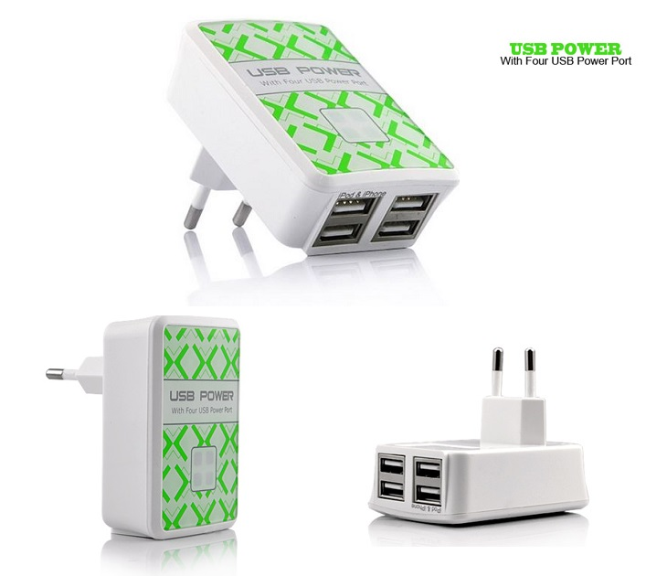 Πρίζα Φορτιστής Ρεύματος με 4 Εξόδους USB ΟΕΜ 00006393 ηλεκτρολογικός εξοπλισμός