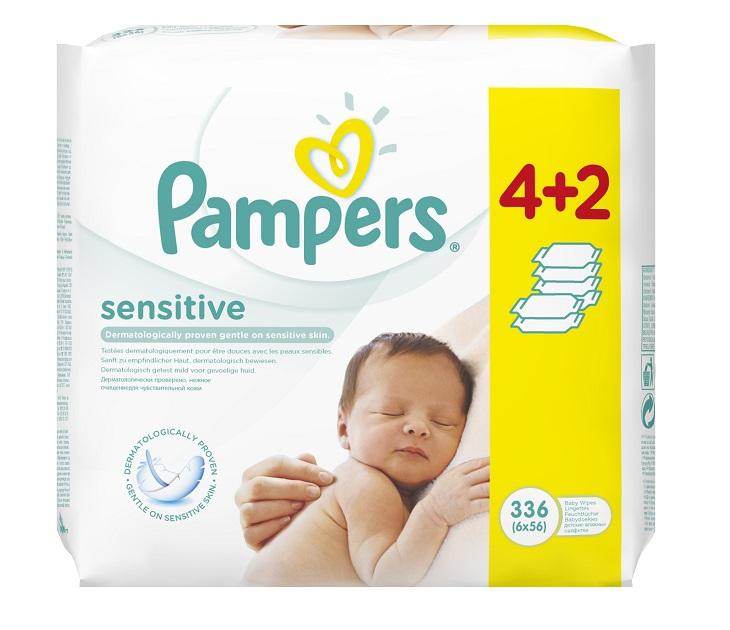 Μωρομάντηλα Pampers Sensitive MEGA 4x56+2x56 ΔΩΡΟ (336 τεμάχια) mωρομάντηλα pampers