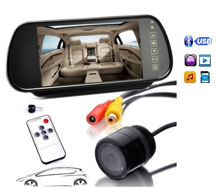 """Καθρέφτης Αυτοκινήτου Oθόνη 7"""" Βluetooth & Κάμερα Οπισθοπορείας"""
