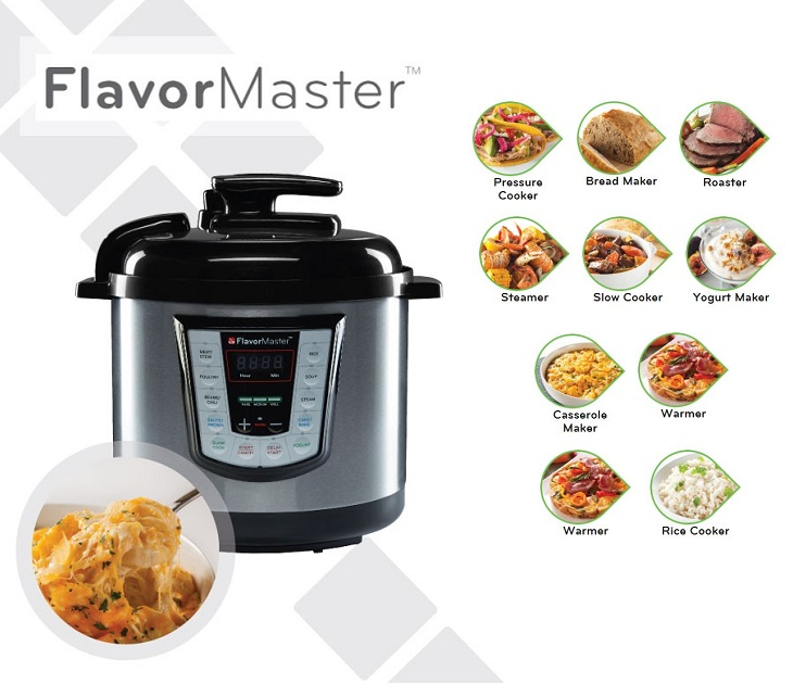 Πολυμάγειρας 10 σε 1 FlavorMaster Με τον Πολυμάγειρα FlavorMaster 10 σε 1 ήρθε η στιγμή να ξεφορτωθείτε τις χιλιάδες κατσαρόλες που πιάνουν άσκοπο χώρο στην κουζίνα σας  Διαθέτει προκα