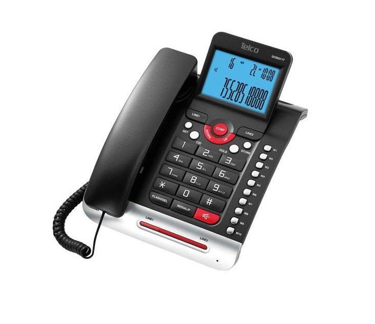Ενσύρματο Επιτραπέζιο Τηλέφωνο Telco GCE-6211T Δίγραμμο (Μαύρο) τηλεφωνία