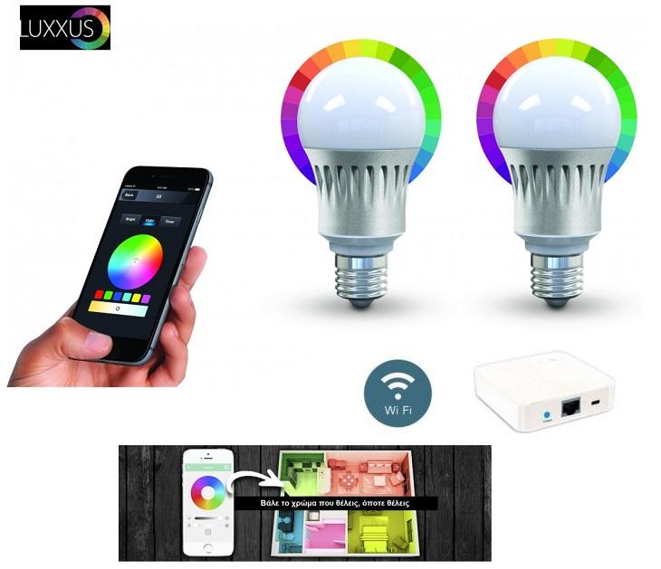 Σετ 2 Έξυπνοι Λαμπτήρες Led & Gateway για Έλεγχο μέσω Wifi & App gadgets
