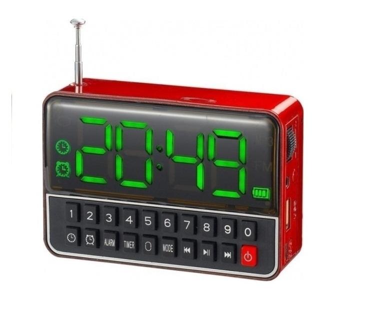 Επαναφορτιζόμενο Ψηφιακό Ράδιο Ρολόι - Ξυπνητήρι USB MP3 Player ήχος   εικόνα