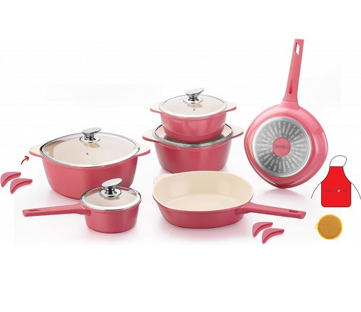 Σετ Με Κατσαρόλες & Τηγάνια 16 τεμαχίων RL-SS1016C Ροζ σκεύη μαγειρικής