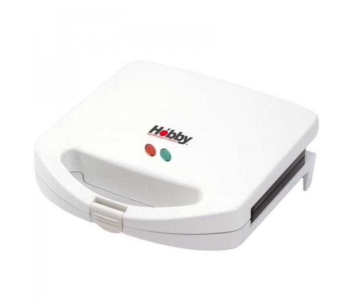 Σαντουϊτσιέρα Hobby ST-05 White με Αντικολλητικές Πλάκες Η σαντουϊτσιέρα Hobby ST-05 White έχει ισχύ 800W, φτιάχνει 2 τοστ και έχει αντικολλητικες πλακες γκριλ. Παρέχει ασφάλεια λαβών, θερμοστάτη, φωτιζομενο διακοπτη και στέκεται όρθια για ευκολη αποθηκευση