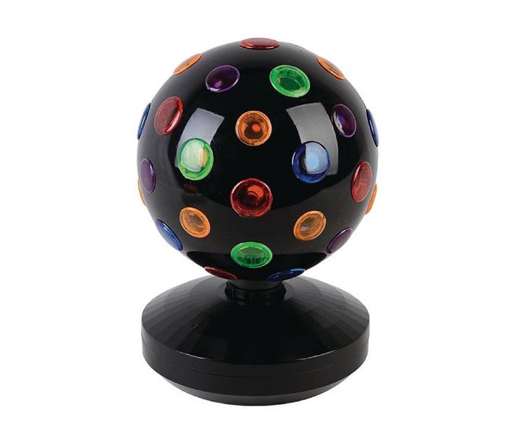Πολύχρωμη περιστρεφόμενη disco ball, 19 cm, με βάση. λάμπες led