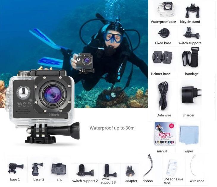 Αδιάβροχη Κάμερα 12MP Full HD 1080P 2.0 Inch & Wifi ήχος   εικόνα