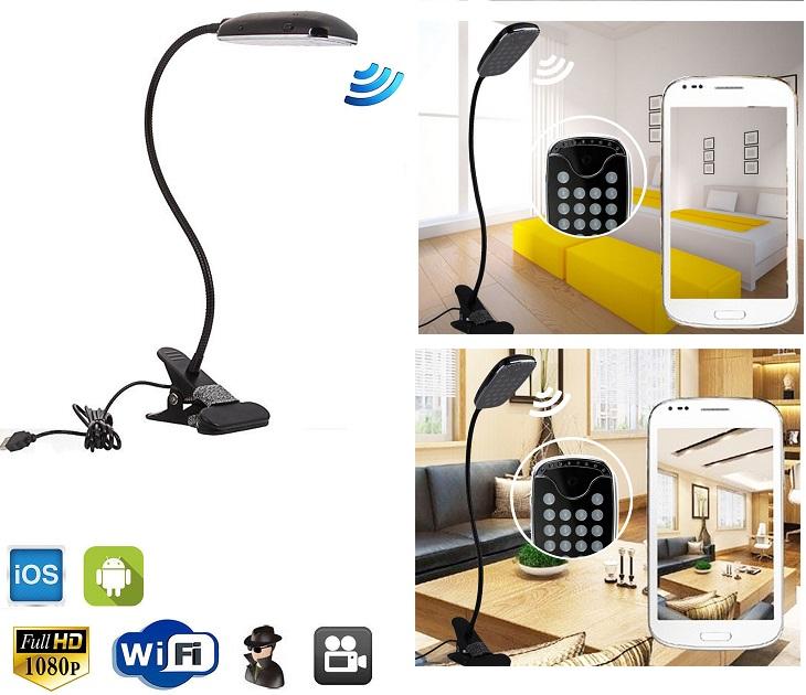 Κρυφή Κάμερα WiFi/IP με Νυχτερινή Όραση, Καταγραφή Φωτιστικό LED spy gadgets