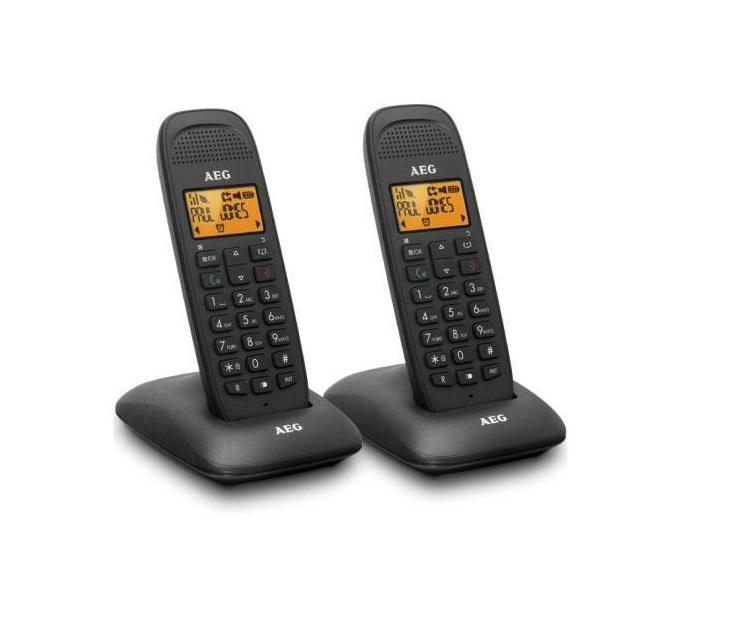 Τηλέφωνο AEG Voxtel D85 Twin με Τηλεφωνητή (Μαύρο) τηλεφωνία