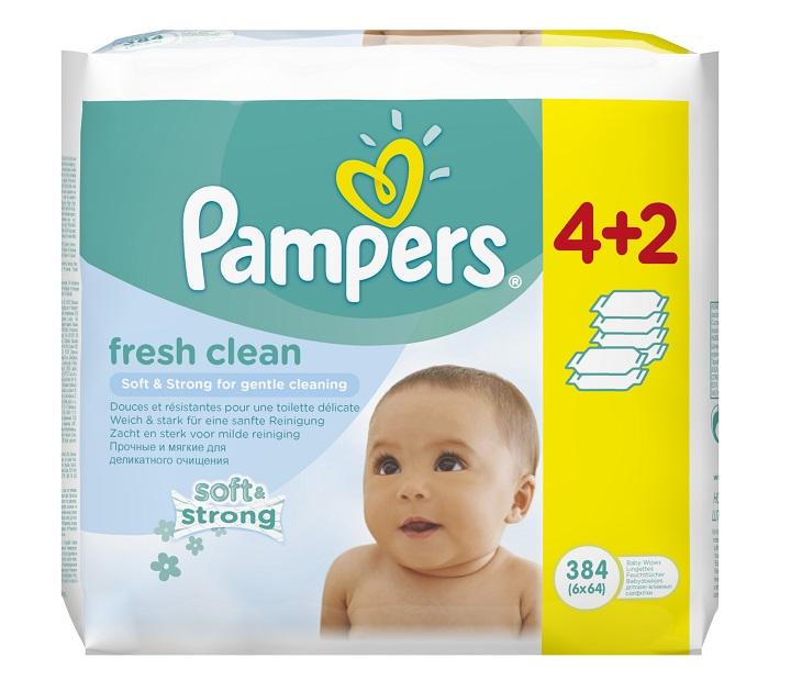 Μωρομάντηλα Pampers Fresh Clean MEGA 4x64+2x64 ΔΩΡΟ (384τεμάχια) mωρομάντηλα pampers