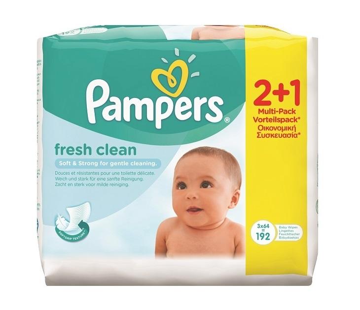 Μωρομάντηλα Pampers Fresh Clean 2X64+1X64 ΔΩΡΟ (192 Τεμάχια)