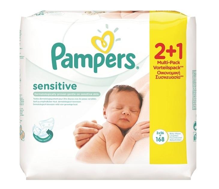 Μωρομάντηλα Pampers Sensitive 2x56+1x56 ΔΩΡΟ (168 τεμάχια) mωρομάντηλα pampers