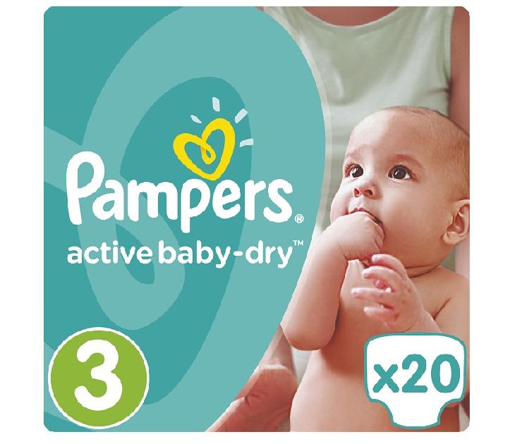 Πάνες Pampers Active Baby-Dry No 3 (Midi) 5-9Kg, 20 τμχ active baby dry