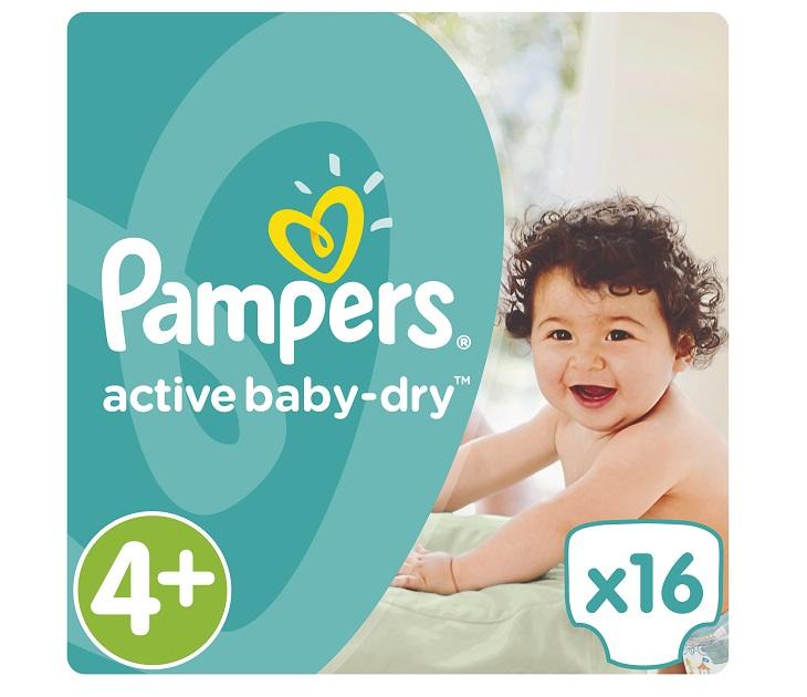 Πάνες Pampers Active Baby-Dry No 4+ (Maxi) 9-16Kg, 16 τμχ active baby dry