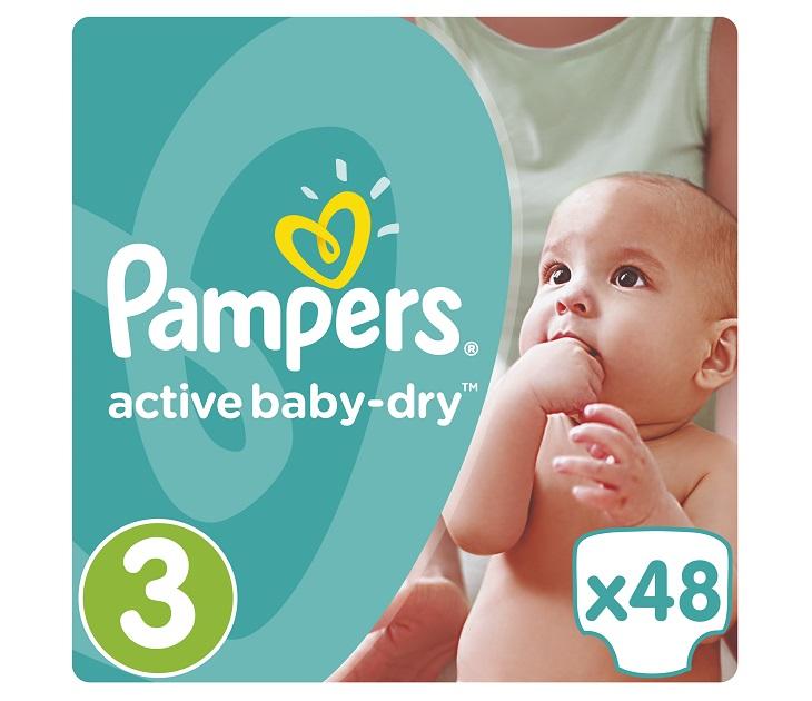 Πάνες Pampers Active Baby-Dry No 3 (Midi) 5-9Kg, 48 τμχ active baby dry