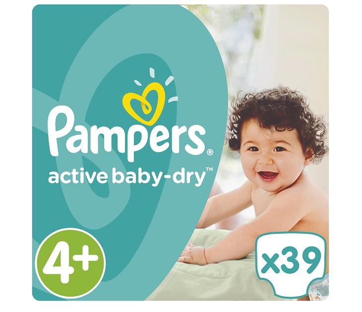 Πάνες Pampers Active Baby-Dry No 4+ (Maxi+) 9-16Kg, 39 τμχ active baby dry