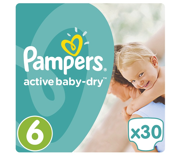 Πάνες Pampers Active Baby-Dry No 6 (Extra Large) 15+Kg, 30 τμχ active baby dry