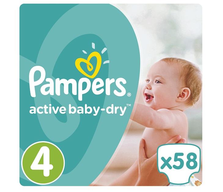 Πάνες Pampers Active Baby-Dry No 4 (Maxi) 8-14Kg, 58 τμχ active baby dry