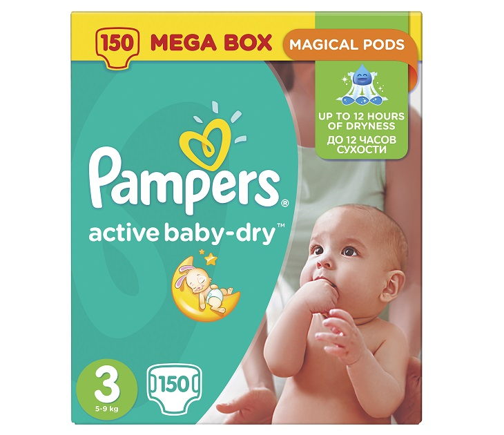 Pampers Active Baby-Dry Νο3 (Midi) 5-9Kg,152 τμχ active baby dry