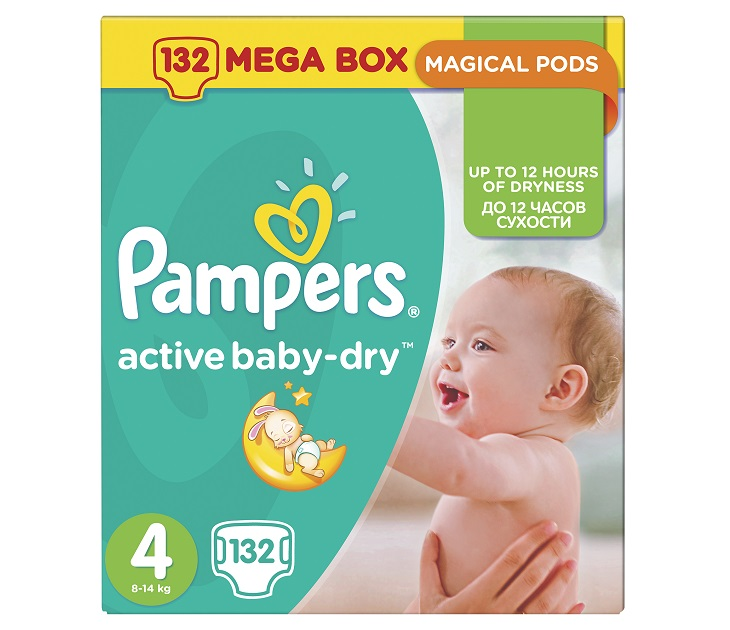 Pampers Active Baby-Dry No4 (Maxi)8-14Kg 132 τμχ active baby dry