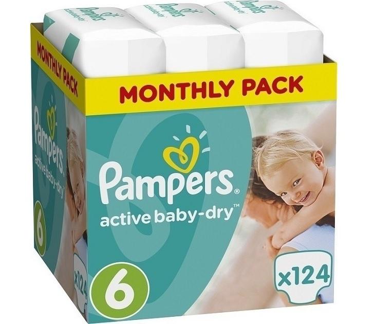 Πάνες Pampers Active Baby Dry No6 (15+Kg) 124 τμχ active baby dry