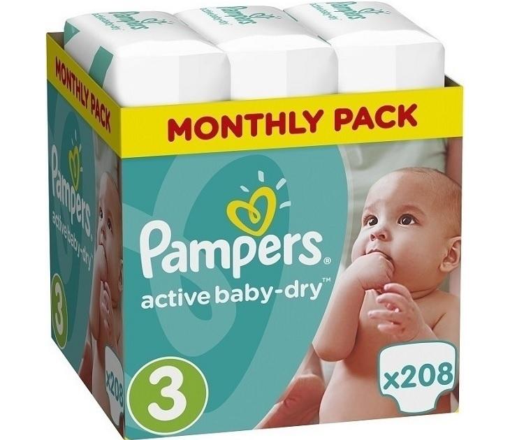 Πάνες Pampers Active Baby Dry Monthly Box No 3 ( 5-9Kg) 208 τμχ active baby dry