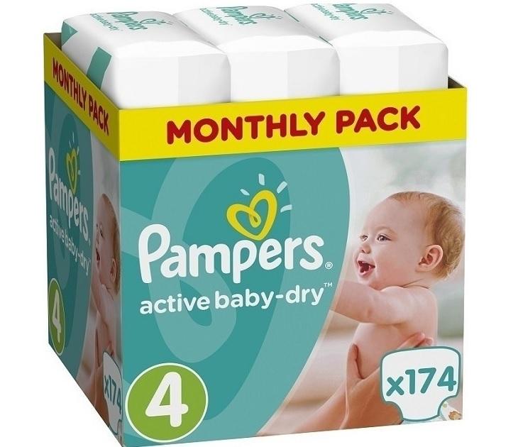 Πάνες Pampers Active Baby Dry No4 (8-14kg) 174 τμχ active baby dry