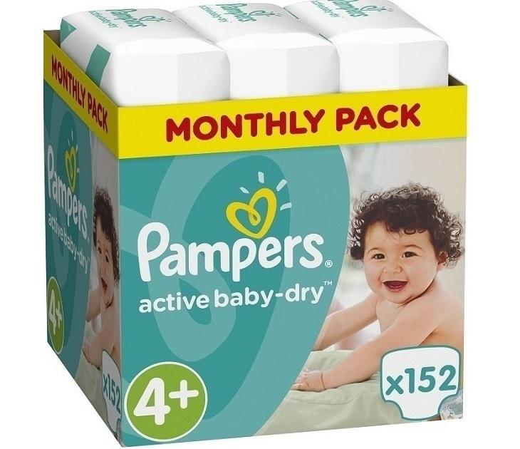 Πάνες Pampers Active Baby Dry No4+ (9-16kg) 152 τμχ active baby dry