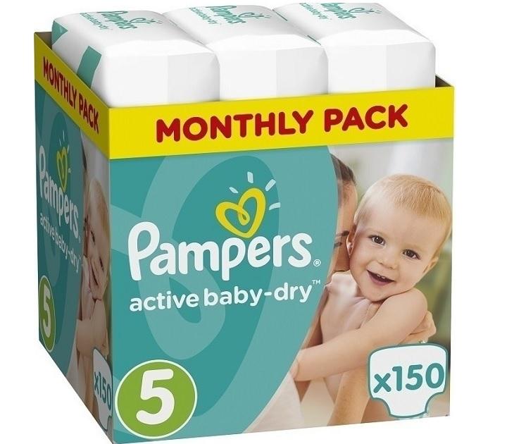 Πάνες Pampers Active Baby Dry No 5 (11-18Kg) 150 τμχ active baby dry