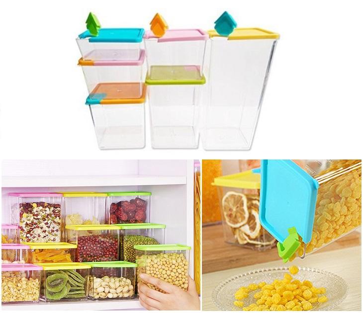 Σετ 6 Πλαστικά Δοχεία Τροφίμων Για Εξοικονόμηση Χώρου