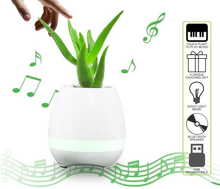 Φωτιστικό Ηχείο Bluetooth που Παίζει Μουσική σε Σχήμα Γλάστρας audio   video gadgets