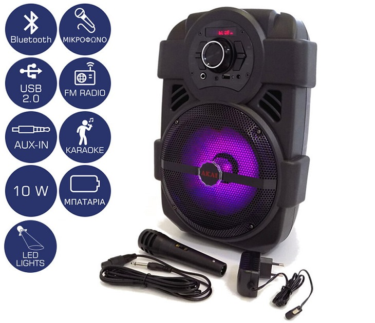 Φορητό Ηχείο Bluetooth με LED και Μικρόφωνο AKAI ABTS-808L (10W)