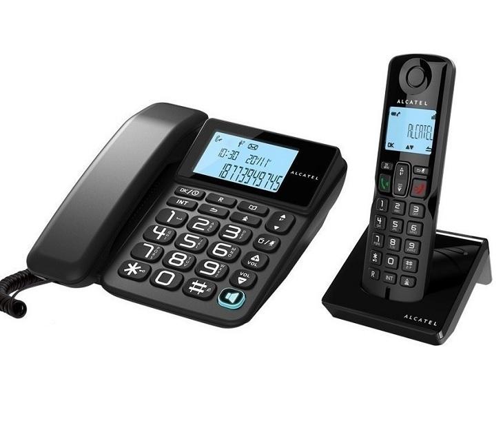 Ασύρματη & Επιτραπέζια Τηλεφωνική Συσκευή Μαύρη S250 COMBO τηλεφωνία