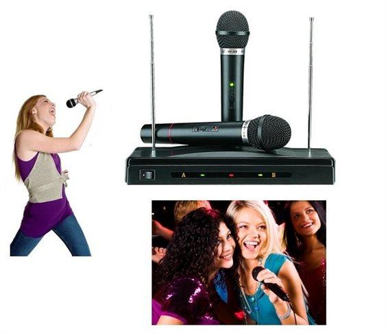 Συσκευή για Karaoke με 2 Aσύρματα Mικρόφωνα Wireless ΟΕΜ AT-306 products