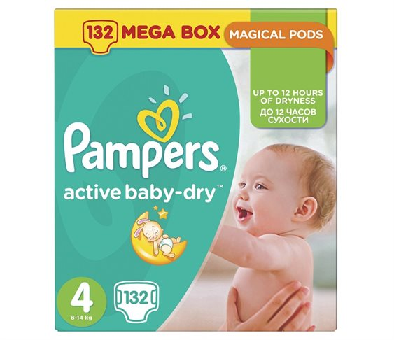 Pampers Active Baby-Dry No4 (Maxi)8-14Kg 132