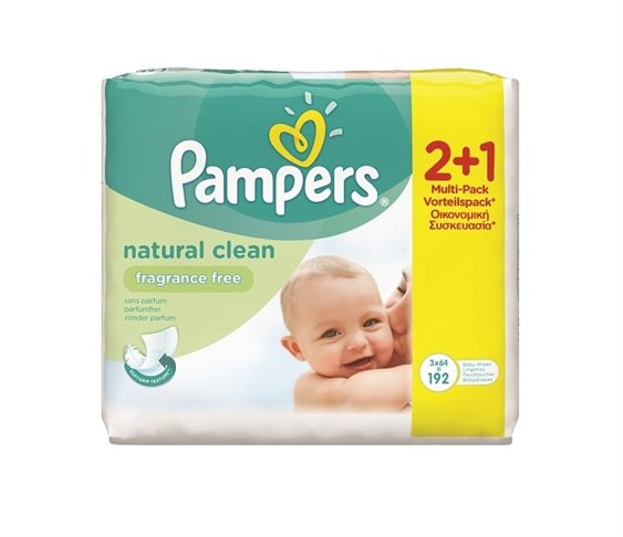 Μωρομάντηλα Pampers Natural Clean 2x64+1