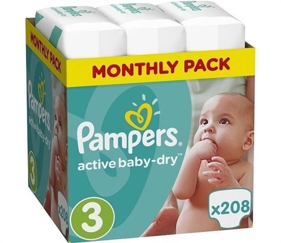 Πάνες Pampers Active Baby Dry Monthly Bo